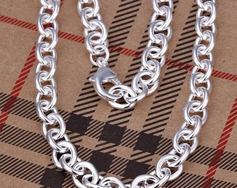 """5pcs 18"""" 9mm Silver Plated Rolo Chain Necklace For Men Bulk"""