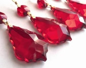5 Red 50mm Chandelier Wedding Crystals French Cut Prism Ornaments