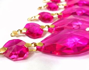 ONE Chandelier Crystals Fuchsia Teardrop 38mm Shabby Chic Ornament Prism