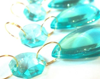 5 Antique Green Smooth Chandelier Crystals Teardrops Light Aqua Almond Prisms Shabby Chic