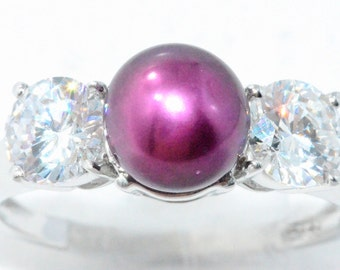 Fuchsia Freshwater Pearl & Zirconia Ring .925 Sterling Silver Rhodium Finish