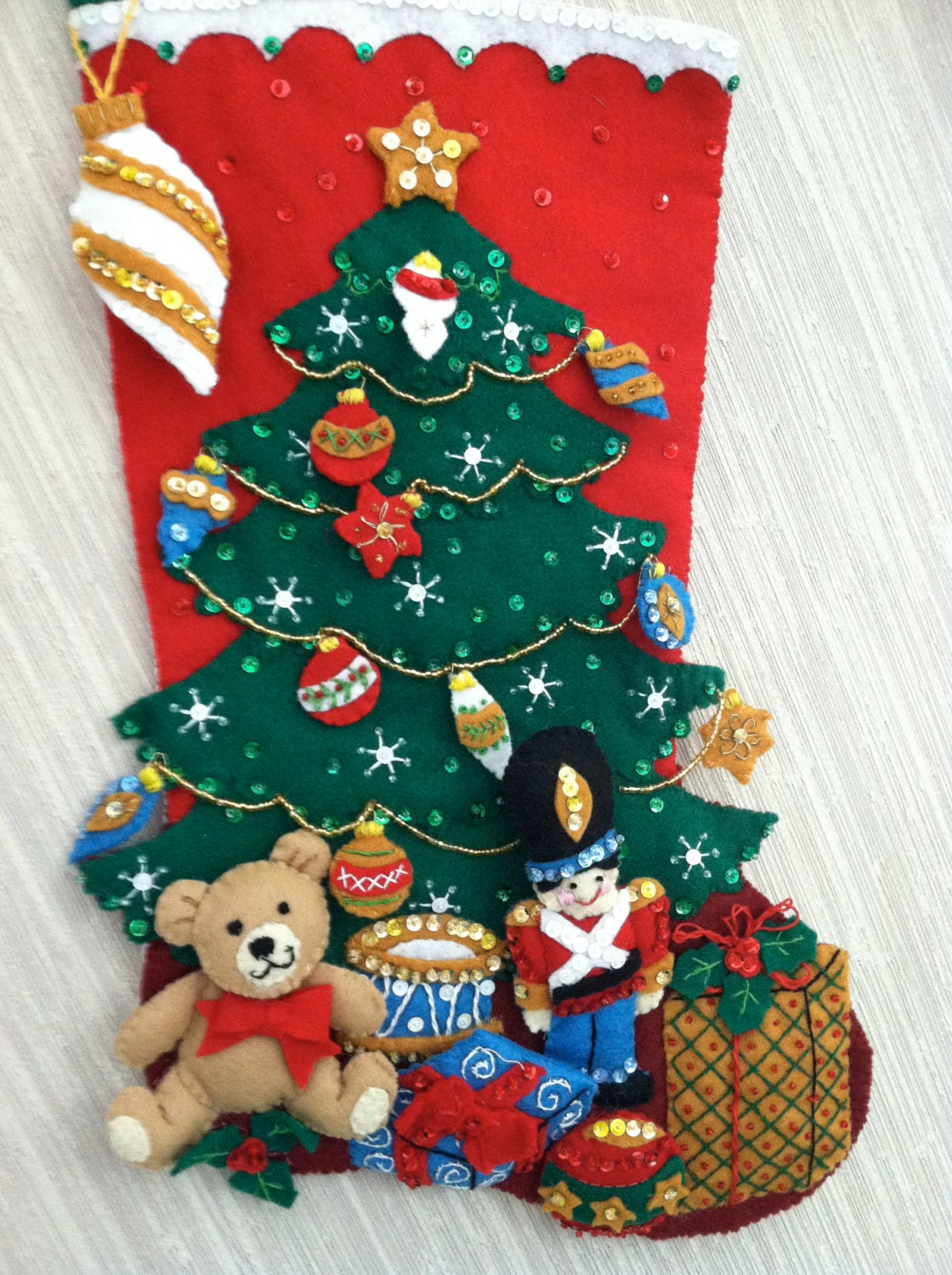 Under The Tree Completed Handmade Felt Christmas Stocking From