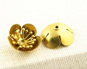 24 PCS OF Brass flower charm 15mm-1606-raw brass