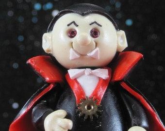 Dracula, OOAK Vampire Wee Monster  for Fairy Garden, Cake Topper, handmade miniature