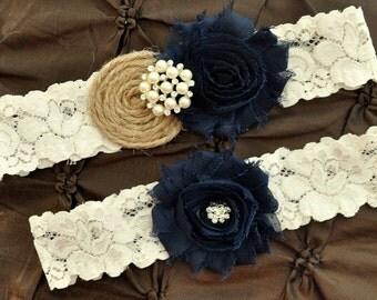 Burlap Rustic Wedding Garter Set, Bridal Garter Set - Rustic Garter, Country Shabby Chic, Shabby Navy Wedding Garter Belt, Burlap Garter