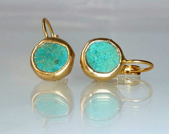 Turquoise earrings, Gift,simple everyday, ocean jewelry,framed stone, Gold post fashion earrings.