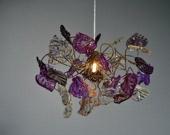 Ceiling light - purple & gray colors leaves, chandelier.
