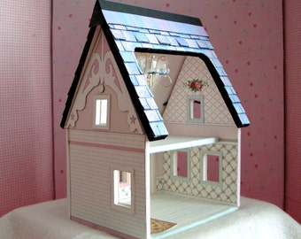 Dollhouse Miniature- A Printable Paper Dollhouse in Quarter Scale Instant Download