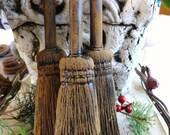3 Primitive Blackened Beeswax WITCH BROOMS Ornament Folk Art Halloween Casting Black Beeswax Wax