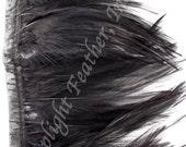 Rooster hackle trim, black on bias tape, per yard