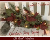 Primitive Christmas PatternLighted Cardinals Christmas Twig Spray ePattern