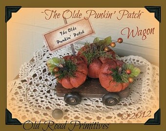 Primitive Pumpkins Pattern The Olde Punkin Patch Wagon Fall Halloween ePattern
