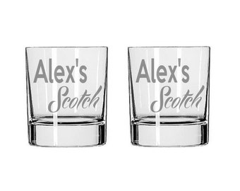 Personalized Scotch Glass  - Deep Etched Straight Sided Rocks Glass, Whiskey Glass, Personalized Rocks Glass, Custom Scotch Glass