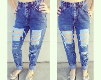 Denim Jeans High waisted destroyed denim jeans