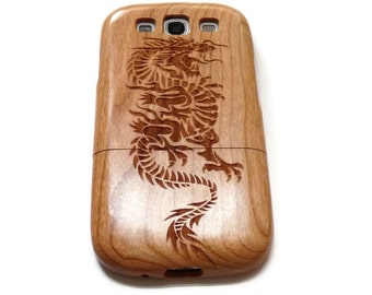 Samsung Galaxy S3  case - wooden S3 case walnut / cherry or bamboo -  Dragon