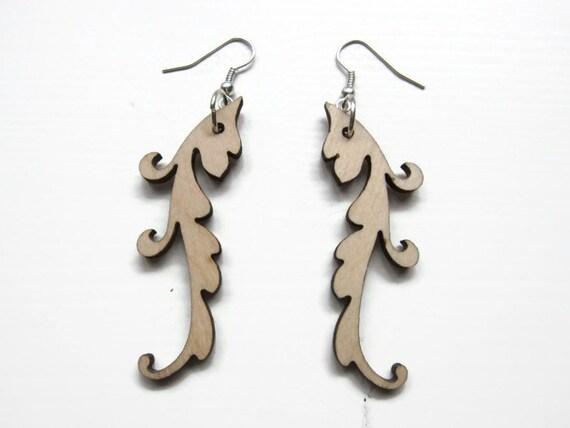 Earrings / earcuffs - lasercut wooden earrings - Floral shape earring