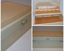 """Vintage Mid Century """" Mele """" Jewelry Box Ivory with Gold Double Level Jewelry or Sewing Box"""