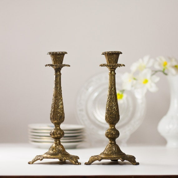 10 Shabbat Candle Holders Vintage Brass Shabbat