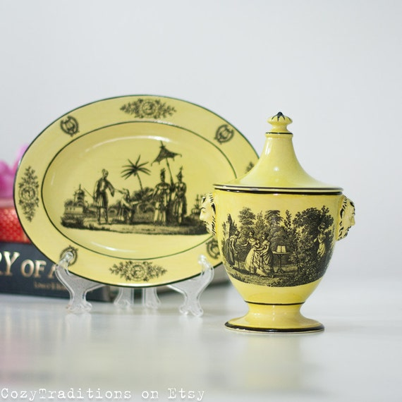 Antique Style Ceramic Container And Tray Yellow Italian China