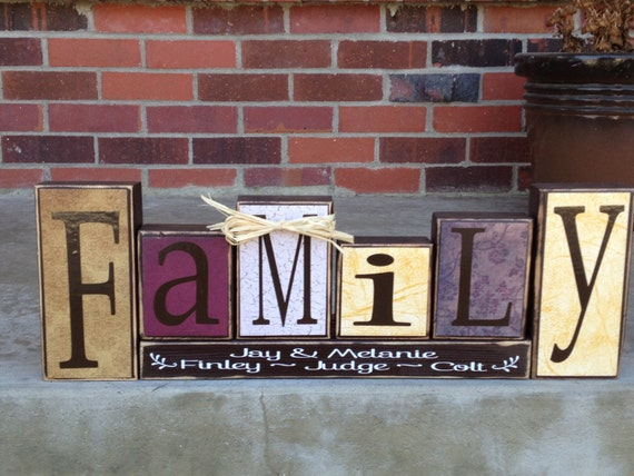 Family is everything primitive wood block set gift home decor