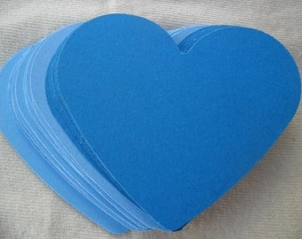 Blue Paper Heart Die Cuts Any Colors, Table Decorations, Place Markers, Name Tags,Wedding,Anniversary,Birthday,Scrapbooking