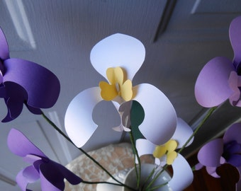 Hand Made Purple And White Paper Orchid Flowers   Any Colors,Wedding,Gift,Shower,Anniversary,Birthday