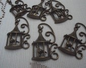 6 Bronze Ornate Birdcage  Pendant Charms Highly Detailed for Necklace Earrings