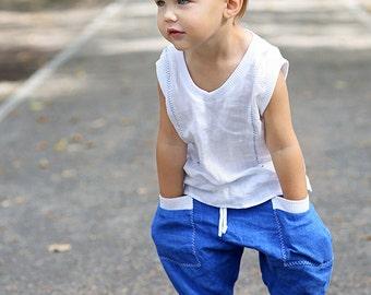 Baby boy pants | Harem shorts | Natural linen |  Eco friendly fabric | Pants | Linen trousers | Prewashed linen | pocket | Bengi design