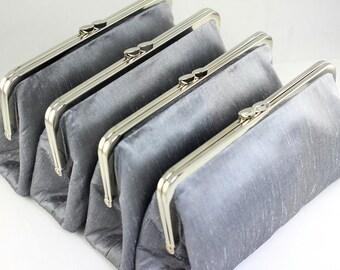 Silver Dupioni Silk Bridesmaid Clutches / Silver Wedding Clutches / Wedding Gifts  - Set of 7