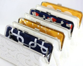 Set of 5 - Bridesmaid Clutch / Wedding Clutch - White Lace Clutch with Multi Lining