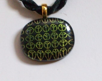60s Peace Sign Glass Necklace