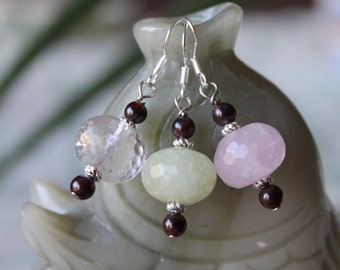 Three Pair Faceted Quartz With Red Garnet Earrings, sterling silver hook