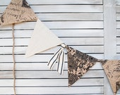 French Inspired Burlap Bunting/Banner Black, Cream, and Natural