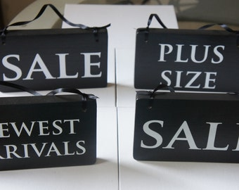 Set of 4 retail signs with ribbons -Hand made Retail sale arrivals and so on. sign for Business  - Solid Wood retail sale signs