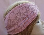 Pink Stretchy Lace headband ,Turban Headband Twist Stretchy Hair Bands, - Boho Headband Lace Turban Head Scarf