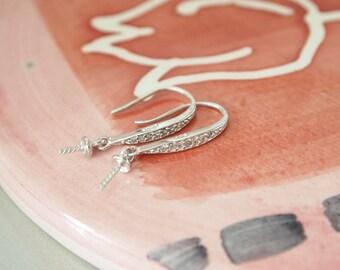 1 Pair, White Gold Vermeil Ear Hook, for Half-drilled Gemstones or Pearls Ear Hook, CZ Pearl Ear Hook, CZ Ear Hook, DIY Jewelry Supplies,