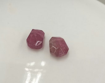 One Matching Pair, Pink Tourmaline Faceted Nugget