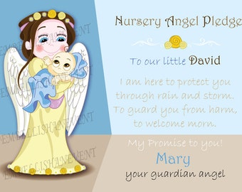 Nursery Art, guardian angel personalized baby picture A3 print