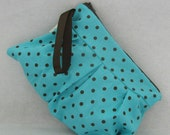 30% OFF SALE Women's Wristlet, Pleated Wristlet Turquoise and Brown Polka Dot Pleated Wristlet