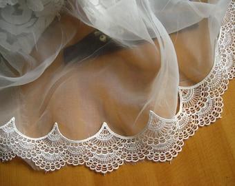 off White Antique Lace Trim, venise lace trim, scalloped lace, bridal lace trim DG129