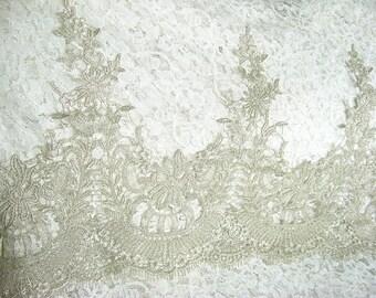Metallic silver Lace Trim, retro silver scalloped lace, vintage lace trim, Antique Lace Trim