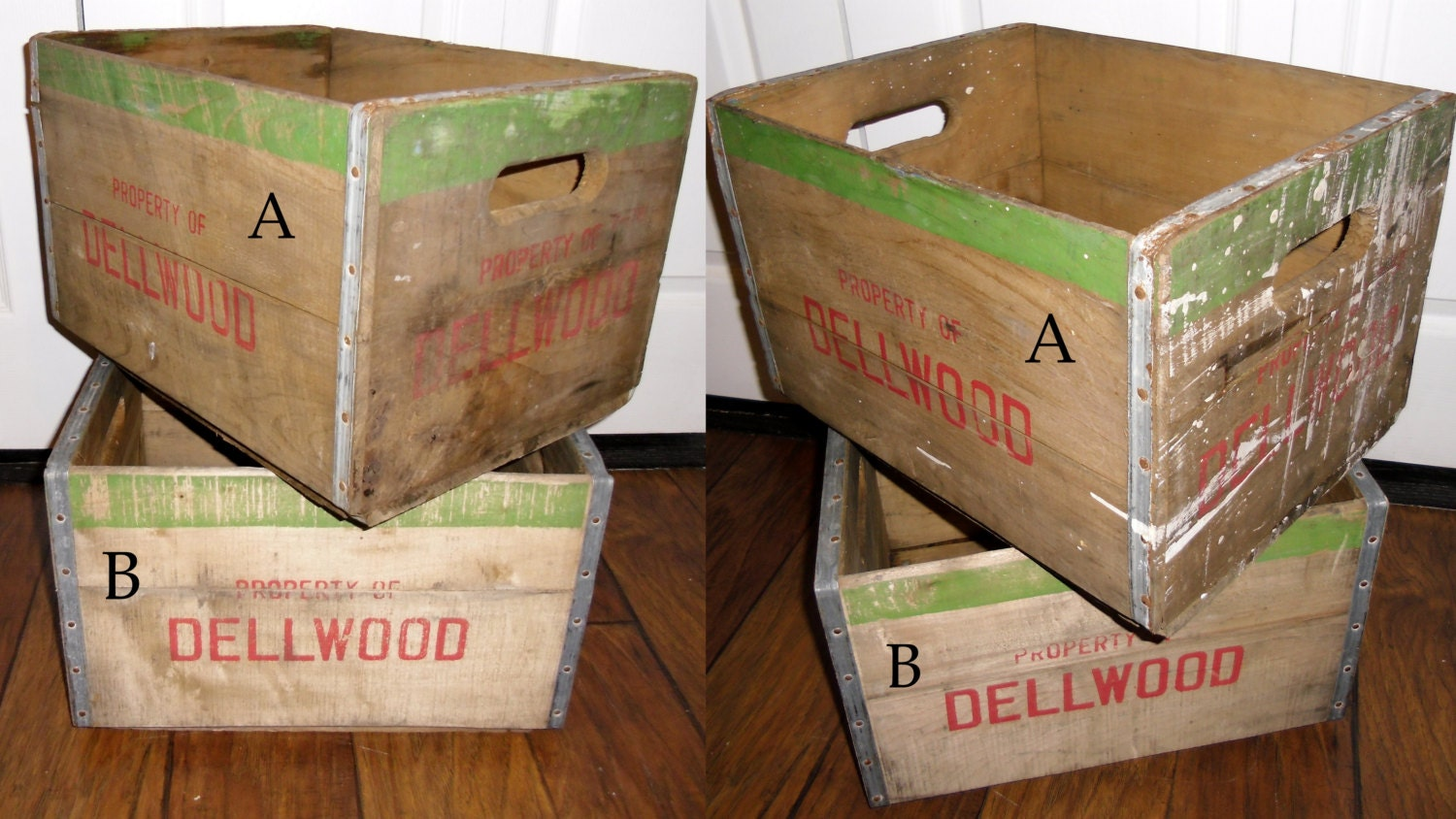 Dellwood milk crate vintage wood crate reclaimed by for Where can i buy wooden milk crates