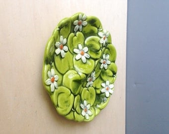 Vintage Ceramic Inarco Green Apple and Daisy Relish Plate/ Dish