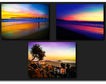 "Beach Photography Set, 8x10 Set of 3 Prints, California Photography, Sunset Photography, Vibrant, Metallic Prints, ""California Sunsets"""