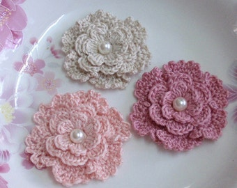 3 Crochet  Flowers With Pearl In 2-1/4 inches YH -183