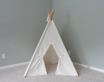 Muslin Kids Tent with Door Ties Play Teepee Play Tent Tipi Wigwam or Playhouse Pick your Muslin Pictured in Unbleached