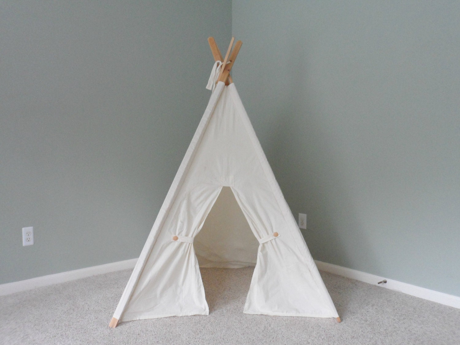Kids Teepee Play Tent Play Fort Natural Cotton Childrens