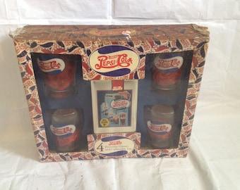 Set of 4 Vintage Pepsi-Cola Fountain Glasses with Collectible Tin Antique Soda