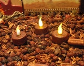 Primitive Grubby Tea Light  - Hand Grungy Flameless Candle, Flickering Light, Battery Tea Light, Rustic Country Decor, Cinnamon