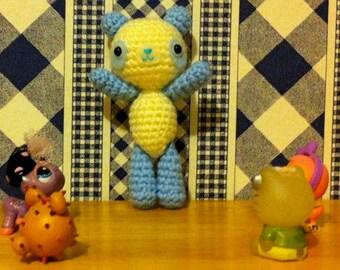Crochet Amigurumi Kawaii Blue and Cream Panda Baby Bear Plushie